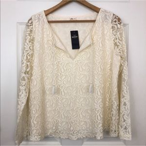 Hollister Lace Long Sleeve With Tassels Large